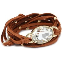 "Ettika ""Leather"" Gold Oval Crystal Stone Rust Wrap Bracelet"