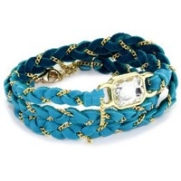 "Ettika ""Leather"" Gold Crystal Baguette Turquoise-Color Leather and Chain Wrap Bracelet"