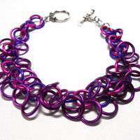 Hunger Games bracelet, Inspired by Effie Trinket, Chainmaille, Pink, violet, and purple