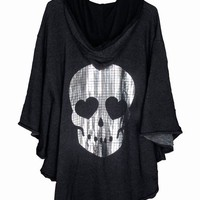 MOSAIC SKULL-FLEECE PONCHO at Wildfox Couture in  - CLEAN BLACK, - MIDNIGHT