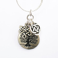 Celtic Trio Necklace - Celtic Tree of Life Charm, Celtic Infinity Knot Charm and Celtic Quarternary Knot Charm - on Sterling Silver Chain
