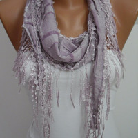 Lilac Shawl and Scarf  Headband - Cowl with Lace Edge- Summer Trends