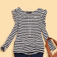 Black White Striped Puff Long Sleeve Cotton T-Shirt - Sheinside.com