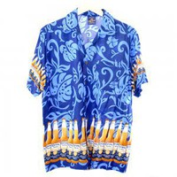 Corona Beer Bright Blue Rayon Aloha Hawaiian Shirt Men&#x27;s Size Large L