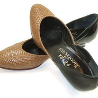 Woven Leather Shoes 1980s Black Patent Low Heel Pumps Tan Olive 6 1/2