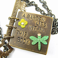 Secret Garden Journal Necklace, Hand Stamped poem, Brass book necklace