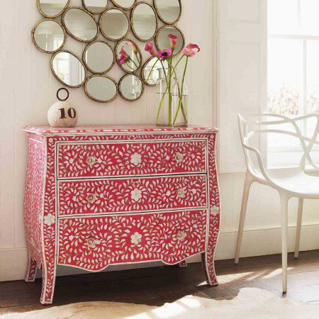 Louise Mother of Pearl Inlay Chest of Drawers in Pink