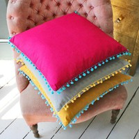 Square Pom Pom Trim Cushions