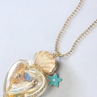 The Mermaid's Tale Long Heart Bottle Necklace