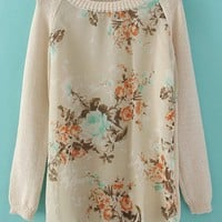 Beige Long Sleeve Round Neck Floral Mesh Yoke Sweater - Sheinside.com