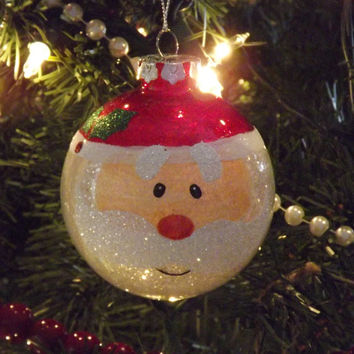 Santa Glitter Christmas Ornament, Santa Face Ornament, Holiday Decoration, Tree ornament, Santa Claus