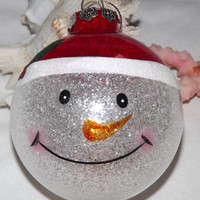 Snowman Glitter Christmas Ornament, Snowman Face Ornament, Holiday Decoration, Tree ornament