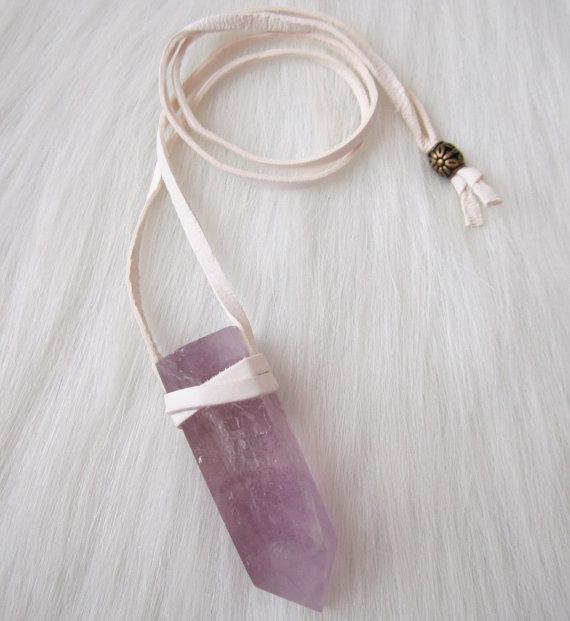 White Leather Wrapped Amethyst Terminated Point Necklace - Zen, Healing, Meditation, Boho