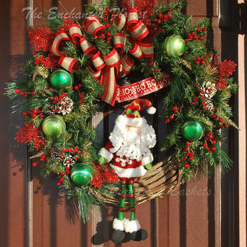 Black Friday Sale Christmas Wreath - Rustic  Santa.  Red and Green Wreath.  Santa Holiday Wreath, Grapevine Wreath, Christmas, Xmas Decor