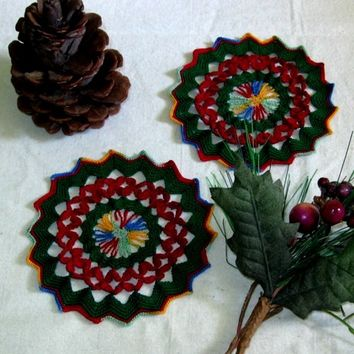 Red Petals In Green Lace Round Coaster or Decoration - Set of 2