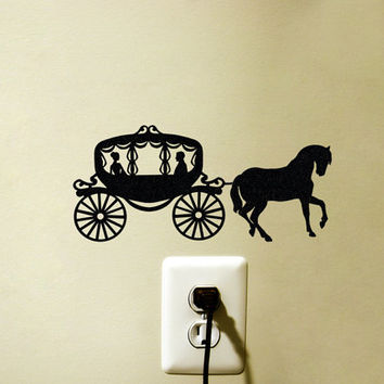 Horse and Carriage Velvet Decal - Princess Carriage Laptop Sticker - Black Horse and Buggy