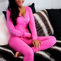 Gabby Pink South Beach Button Onesuit | Pink Boutique