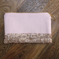 Dipped Blush Pink Sequins Clutch / Rose Gold Cosmetic Case / Small Evening Bag - Sequins + Fancy Ring Zipper Pull - Almquist Design Studio