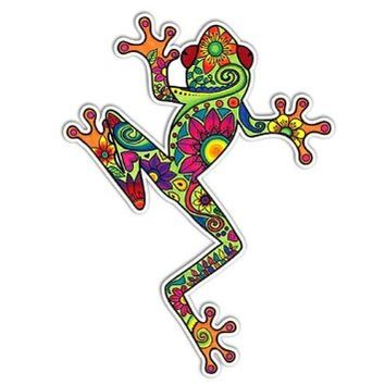 MeganJDesigns Tree Frog Car Sticker Decal Colorful Hippie Laptop Decal