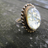 Beautiful Vintage Antique Brass Peridot Ring
