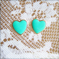 Tiffany Blue Aqua Earrings Mint Green Heart Earrings Gold Plated Post Stud Earrings Wedding Bridesmaids Gift Bridal Jewelry Set