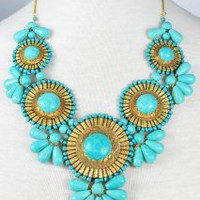 Roman Empire Necklace in Turquoise | Peacock Plume