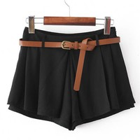 Pleated High Waist Shorts Black$35.00