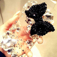 Iphone 4 Case - iphone 4s case - black crystal bow big diamond iphone 4 case cover clear iphone hard case