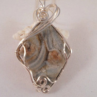 Wire Wrapped Druzy Pendant Necklace, Desert Druzy