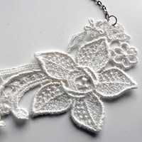 Necklace Ivory Lace with Silver Chain by adrienneaudrey on Etsy