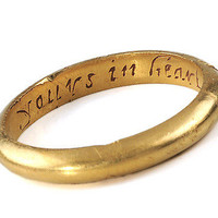 "17th C. Poesy Ring: ""Yours In Heart Till Death Depart' - The Three Graces"