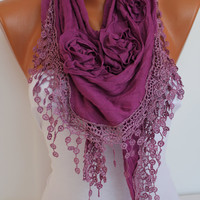 Purple Rose Cotton Shawl/ Scarf - Headband -Cowl with Lace Edge - Summer Trends
