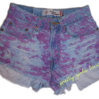 Vintage Pink High Waisted Cut Off Denim Shorts (Extra Small/Small)