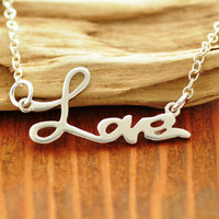 Silver Love Necklace - love pendant, I love you necklace, letter love necklace