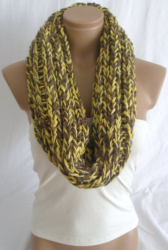Hand Knitted Yellow Brown Hooded Cowl/Scarf/Neck warmer