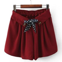 Baggy Elastic Waist Shorts Red$36.00