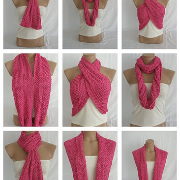 Hand knitted deep pink elegant scarf