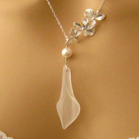 Romantic Falling White Orchid Pearl and Calla by martywhitedesigns