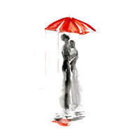 Love autumn rain umbrella kiss Original Watercolor Painting 13x19 contemporary modern wall art illustration abstract home wall decor