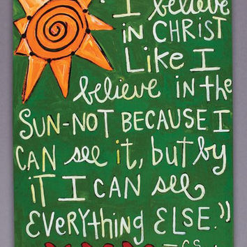 I Believe CS Lewis Quote Art Canvas by jules321 on Etsy