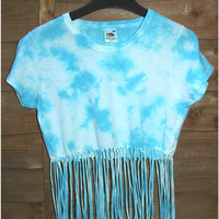 Light Blue ,Marble Tie Dye Crop, Fringe Top 100% cotton