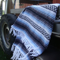 Vintage Retro Hippie Blanket Multi Colors Blue Gray White Black