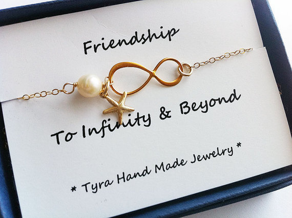 Infinity Bracelet with card,Starfish bracelet,Best friends Bracelet,friendship to infinity,Gold,Beach wedding Graduation