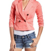 Double Breasted Striped Blazer: Charlotte Russe