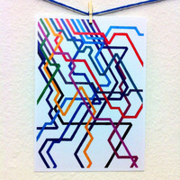 Colorful Art Stationery - Giant Subway - Graph Drawing  - Notecard/Stationery