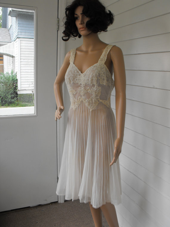 Vintage 50s ivory lace pleated gown from soulrust on etsy for Bra slip for wedding dress