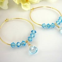 Sky blue topaz Swarovski crystal gold hoop earrings