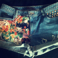 Meow Kitty Cat Hipster High Waist Studded Vintage Shorts