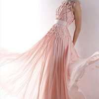 Pink Woven Net Design  Chic Prom Dress 81001  from LocascioFashion
