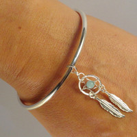 Dream Catcher Bangle Bracelet Pandora Style Amazonite Gemstone
